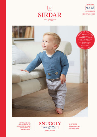 Sirdar Snuggly 100% Cotton Knitting Pattern - 5268 Baby Boys Car Sweater