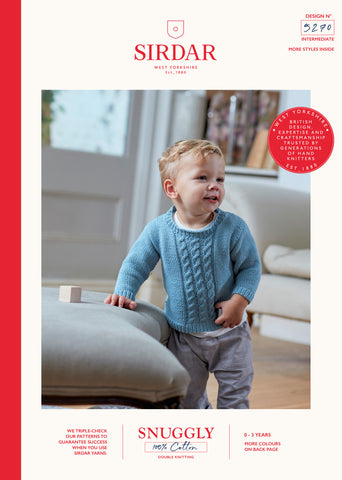 Sirdar Snuggly 100% Cotton Knitting Pattern - 5270 Baby Sweater/Tank Top