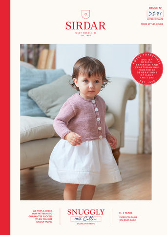 Sirdar Snuggly 100% Cotton Knitting Pattern - 5271 Baby Girls Cardigan