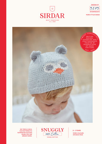 Sirdar Snuggly 100% Cotton Knitting Pattern - 5275 Baby Owl Hats