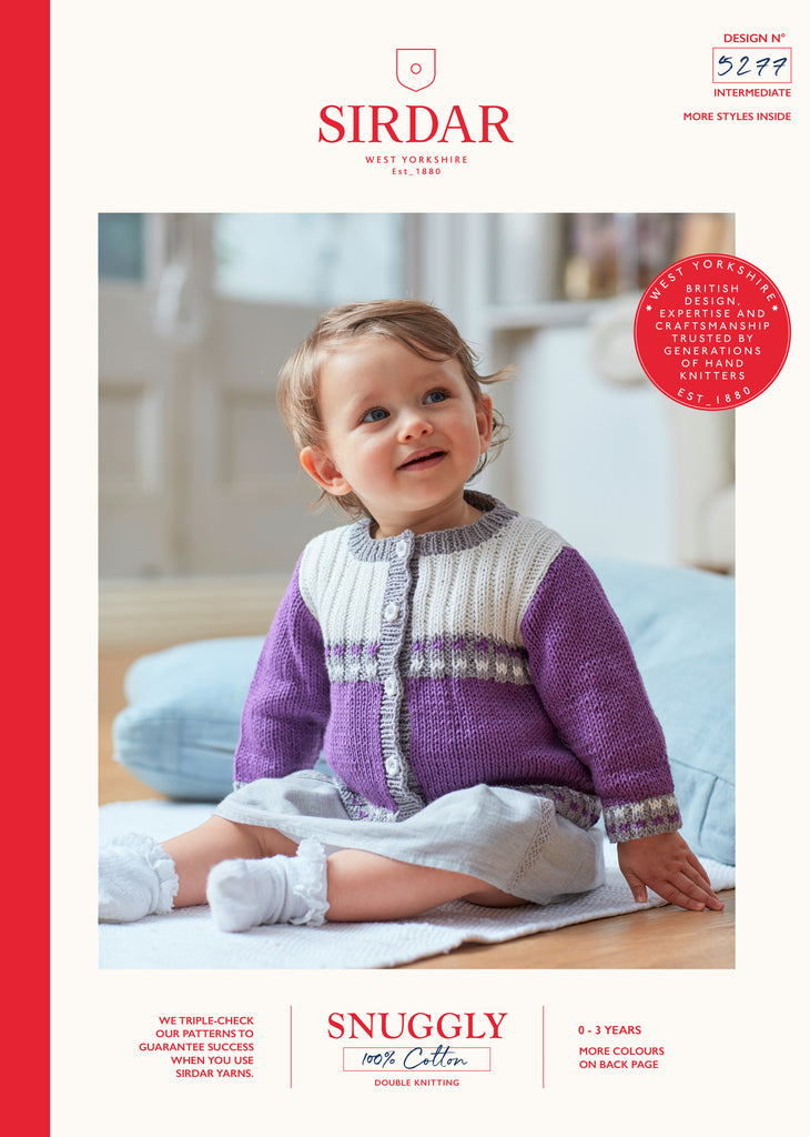 Sirdar Snuggly 100% Cotton Knitting Pattern - 5277 Baby Girls Striped Cardigan