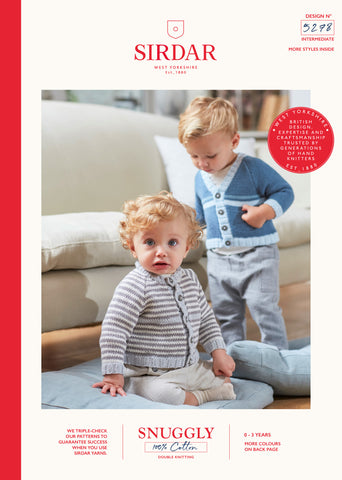 Sirdar Snuggly 100% Cotton Knitting Pattern - 5278 Baby Boys Cardigans