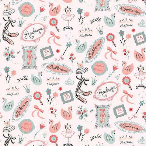 Studio E Bella Ballerina - Words and Motifs Allover Pink - 100% Cotton Fabric