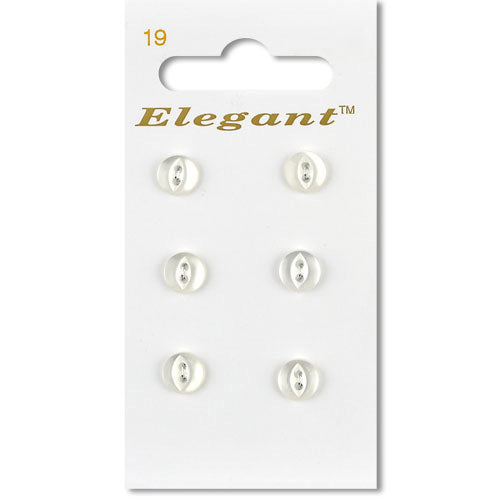 Sirdar Elegant Carded Buttons - Design 19 - 7mm White Pearlised