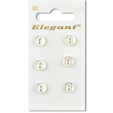 Sirdar Elegant Carded Buttons - Design 20 - 9mm White Pearlised