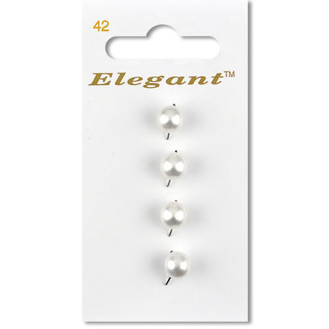 Sirdar Elegant Carded Buttons - Design 42 - 7mm Shanked Domed Pearl