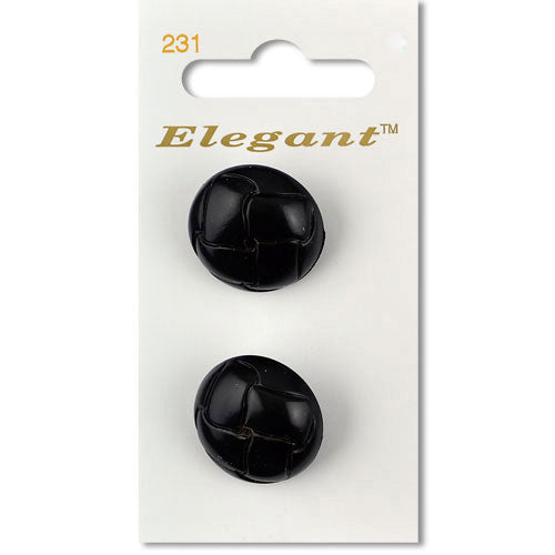 Sirdar Elegant Carded Buttons - Design 231 - 22mm Black Braided Leather Effect