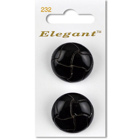 Sirdar Elegant Carded Buttons - Design 232 - 28mm Black Braided Leather Effect