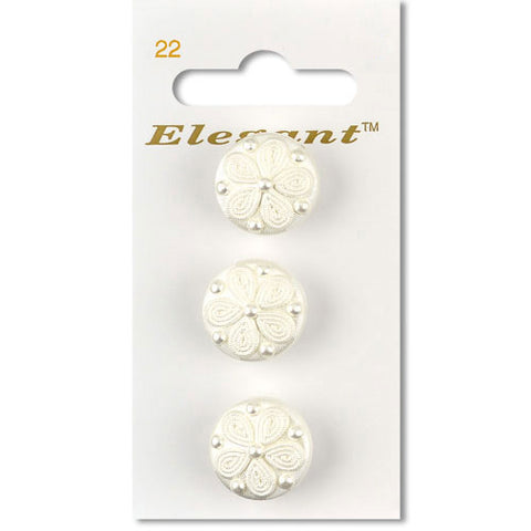 Sirdar Elegant Carded Buttons - Design 22 - 19mm White Pearlised Decorative Flower