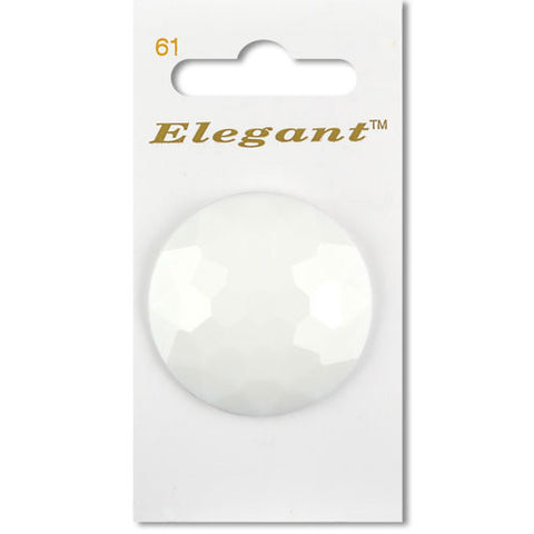 Sirdar Elegant Carded Buttons - Design 61 - 38mm Shanked Faceted White