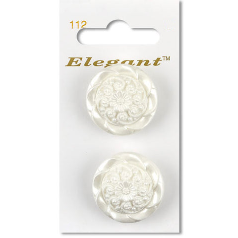 Sirdar Elegant Carded Buttons - Design 112 - 28mm Decorative Swirl Pearlised White