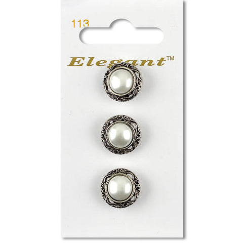 Sirdar Elegant Carded Buttons - Design 113 - 16mm Antique Silver Pearlised