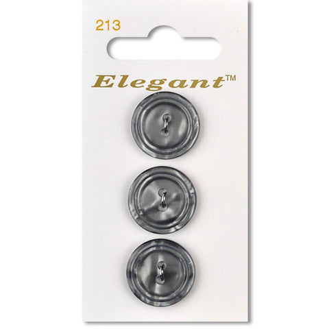 Sirdar Elegant Carded Buttons - Design 213 - 19mm Grey Bevelled Edge