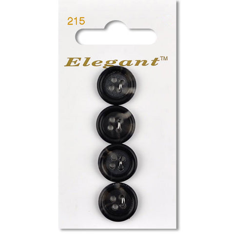 Sirdar Elegant Carded Buttons - Design 215 - 16mm Black Tortoiseshell