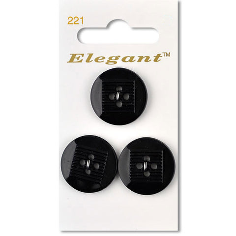 Sirdar Elegant Carded Buttons - Design 221 - 22mm Black Decorative
