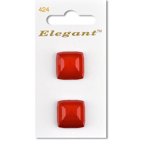 Sirdar Elegant Carded Buttons - Design 424 -22mm Red Faceted Shanked Square