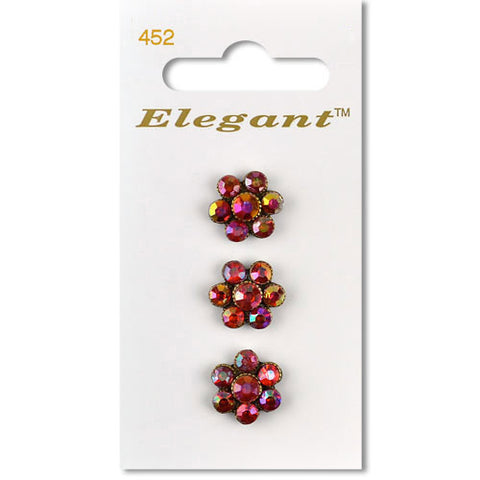 Sirdar Elegant Carded Buttons - Design 452 - 13mm Red Diamonte Flower