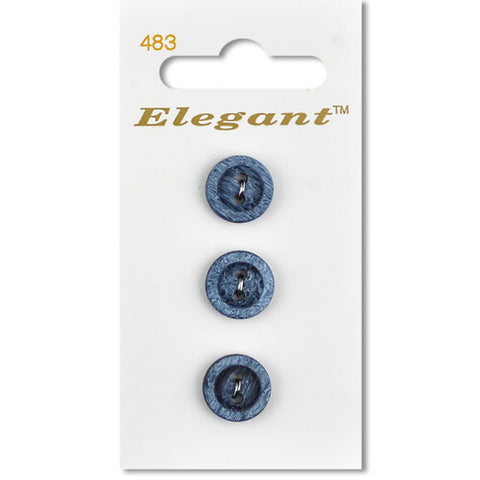 Sirdar Elegant Carded Buttons - Design 483 - 12mm Wooden Texture Blue