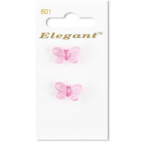 Sirdar Elegant Carded Buttons - Design 601 - 19mm Transparent Pink Butterfly