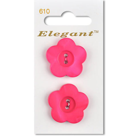 Sirdar Elegant Carded Buttons - Design 610 - 25mm Shell Effect Flower Bright Pink