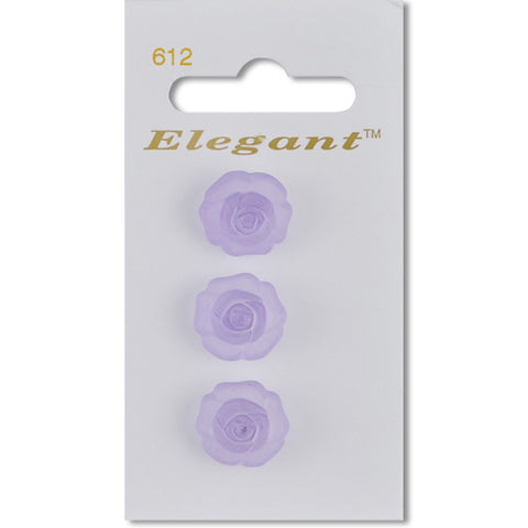 Sirdar Elegant Carded Buttons - Design 612 - 16mm 3D Flower Lilac