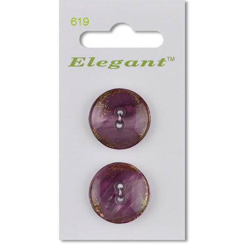 Sirdar Elegant Carded Buttons - Design 619 - 22mm Glittered Shell Effect Purple