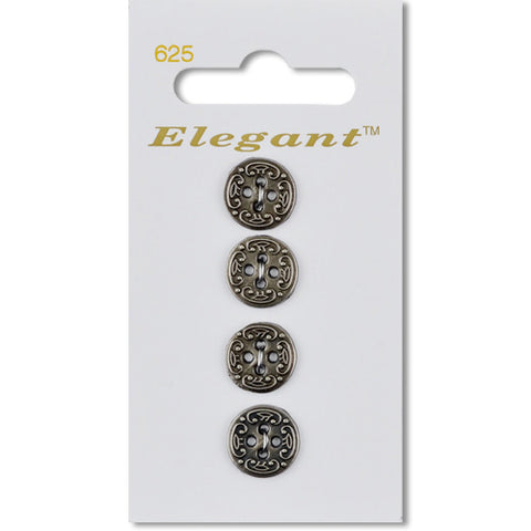 Sirdar Elegant Carded Buttons - Design 625 - 12mm Decorative Silver Metal