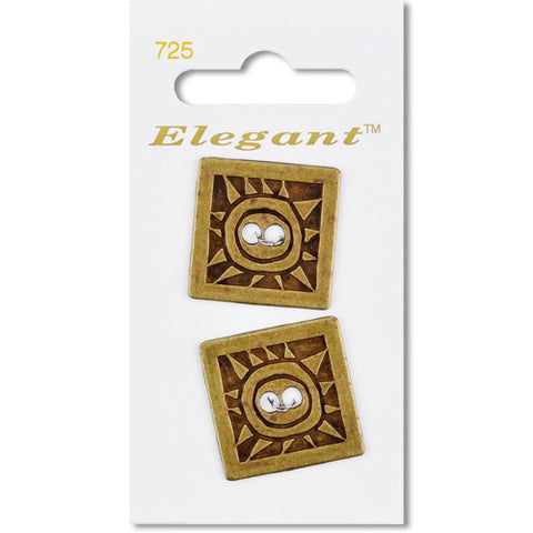 Sirdar Elegant Carded Buttons - Design 725 - 32mm Square Brass Decorative
