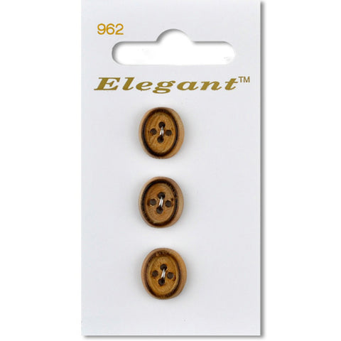 Sirdar Elegant Carded Buttons - Design 962 - 13mm Burnished Wooden Oval