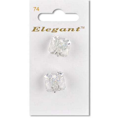 Sirdar Elegant Carded Buttons - Design 74 - 19mm Clear Square Shanked with Glitter
