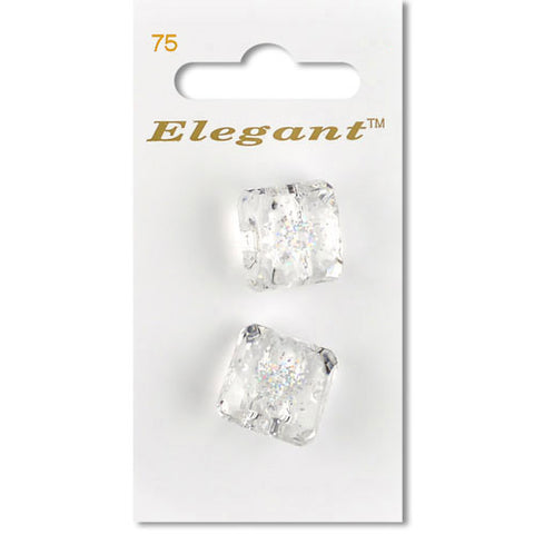 Sirdar Elegant Carded Buttons - Design 75 - 22mm Clear Square Shanked with Glitter