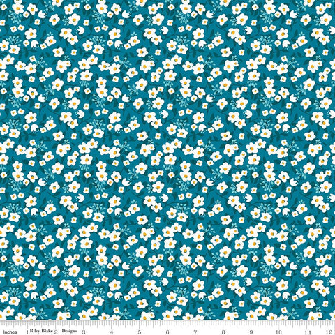 Riley Blake Fleur - Meadow Dark Blue - 100% Cotton Fabric