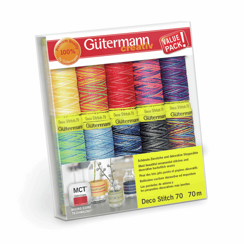Gutermann Deco Stitch Thread Set 10pk - Assorted