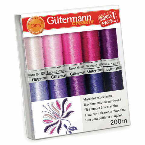 Gutermann Rayon 40 Thread Set 10pk - Pinks/Purples