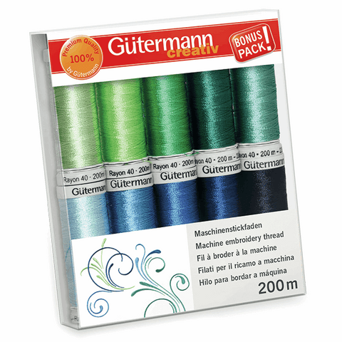 Gutermann Rayon 40 Thread Set 10pk - Greens/Blues
