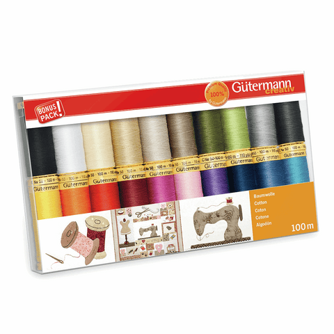 Gutermann Natural Cotton No. 50 Thread Set 20pk - Assorted