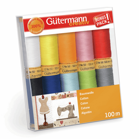 Gutermann Natural Cotton 50 Thread Set 10pk - Brights
