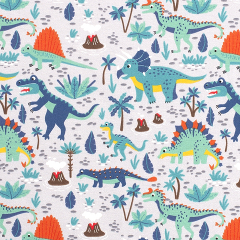 Light Grey Dino Adventure Cotton Jersey Fabric