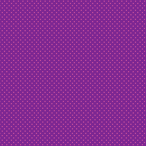Makower Spot - Pink on Purple - 100% Cotton Fabric