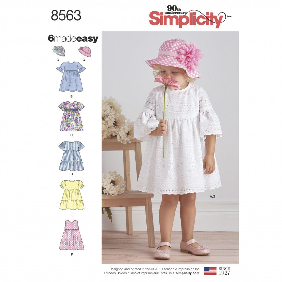 Simplicity Sewing Pattern 8563 - Toddler Dresses and Hat