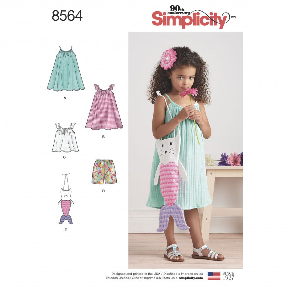 Simplicity Sewing Pattern 8564 - Child's Dress, Top, Shorts & Bag
