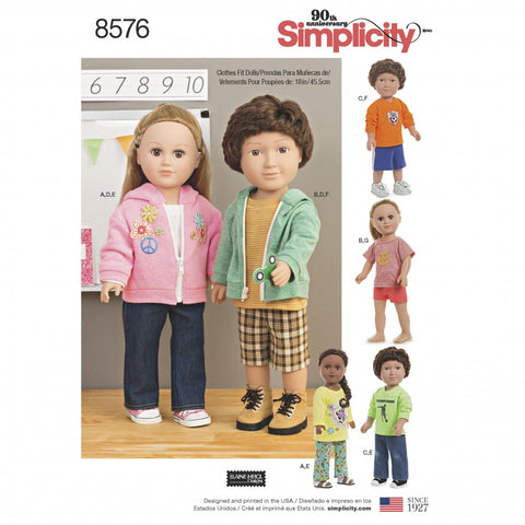 Simplicity Sewing Pattern 8576 - Unisex Doll Clothes