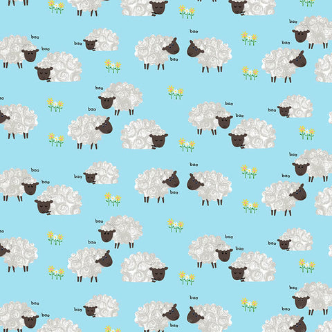 Henry Glass Best Friends Farm - Sheep Light Blue - 100% Cotton Fabric