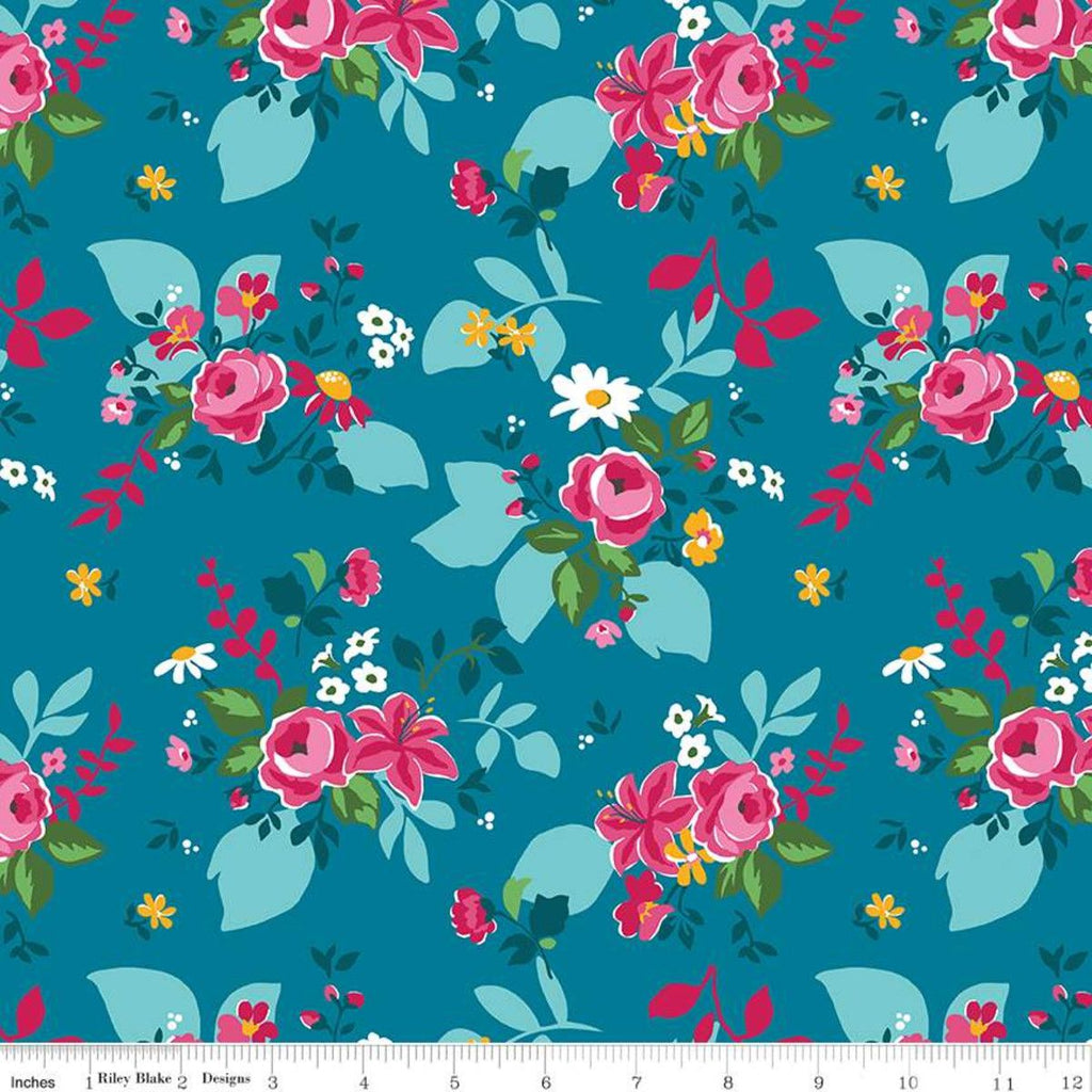 Riley Blake Fleur - Main Dark Blue - 100% Cotton Fabric