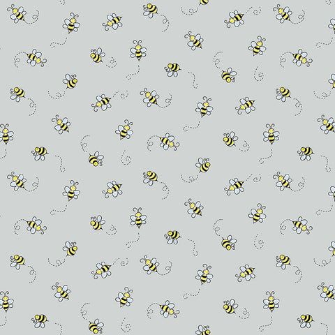 Makower Bumble Bee - Bee Light Grey - 100% Cotton Fabric