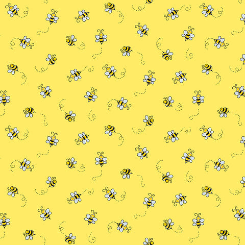 Makower Bumble Bee - Bee Yellow - 100% Cotton Fabric