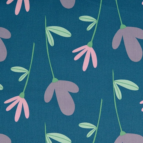 Petrol Petals 100% Cotton Fabric