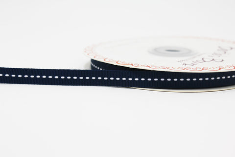 9mm Centre Stitch Ribbon - Navy