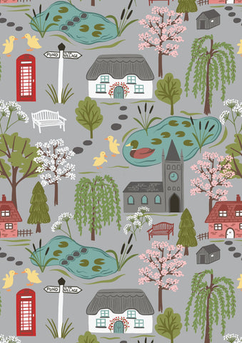 Lewis & Irene Village Pond - Village Scene Light Grey - 100% Cotton Fabric