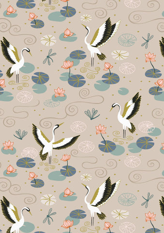 Lewis & Irene Jardin de Lis - Heron Lake Natural (metallic) - 100% Cotton Fabric